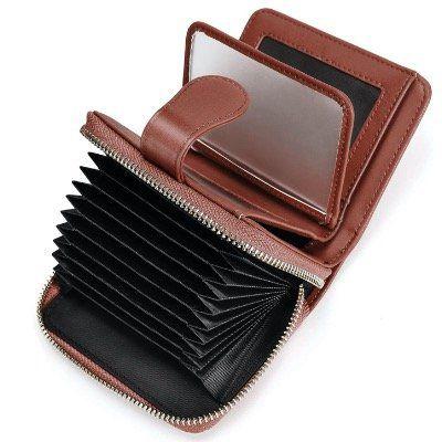 Vogek Damen Geldbörse aus Leder mit Kartenhalter und RFID Schutz in Kaffee für 5,20€ (statt 13€)   Prime