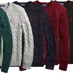 """Polo Ralph Lauren Baumwollpullover """"Cotton Cable Crew Neck Black"""" in 5 Farben für je 79,91€ (statt 142€)"""