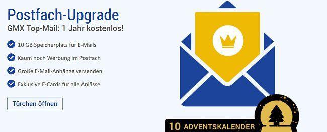 NUR HEUTE: Ein Jahr GMX Top Mail Postfach gratis (statt ca. 60€)