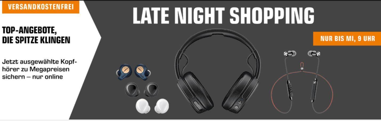 Saturn Late Kopfhörer Night: z.B SKULLCANDY CRUSHER Wireless Over ear Kopfhörer für 99€ (statt 120€)