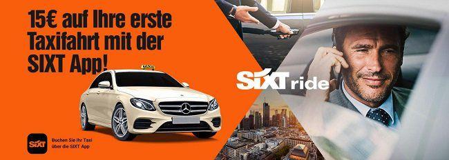 NUR NOCH bis 19.02., 9 Uhr: Mit der SIXT App 15€ für Taxifahrt ergattern