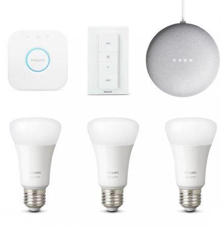 Philips Hue White Starter Kit + Dimmer + 3x E27 Lampen + Google home mini ab 84,95€ (statt 97€)