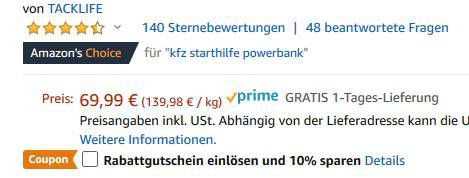 Tacklife T6 Starthilfe mit 18.000mAh & 800A für 48,99€ (statt 70€)