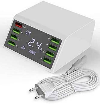 60W/12A QC 3.0 USB Ladestation mit 8 Ports & LCD für 17,75€ (statt 30€)