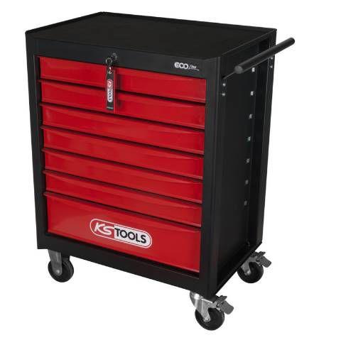 KS Tools ECOline SCHWARZ/ROT Werkstattwagen mit 7 Schubladen für 187,06€ (statt 299€)