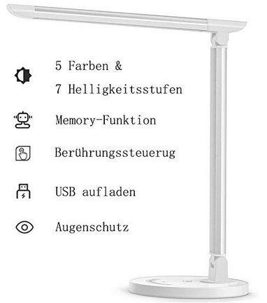 TaoTronics TT-DL13 – dimmbare 12W LED Tischlampe mit 5 Farb- & 7 Helligkeitsstufen für 20,99€ (statt 40€)