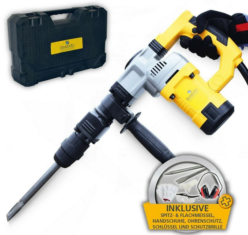 BAMATO STH 150 Stemm  und Abbruchhammer mit 7 tlg. Zubehörset 27 Joule SDS MAX für 99€ (statt 119€)