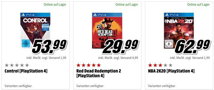 Media Markt: 3 Konsolen  oder PC Games für 49€   oder neuere Spiele 3 für 79€