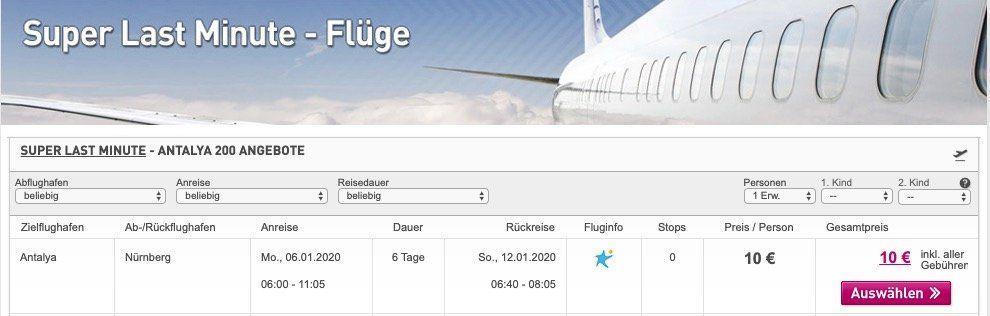 Türkei: Super Lastminute Flüge von Nürnberg nach Antalya für nur 10€ inkl. 20kg Gepäck