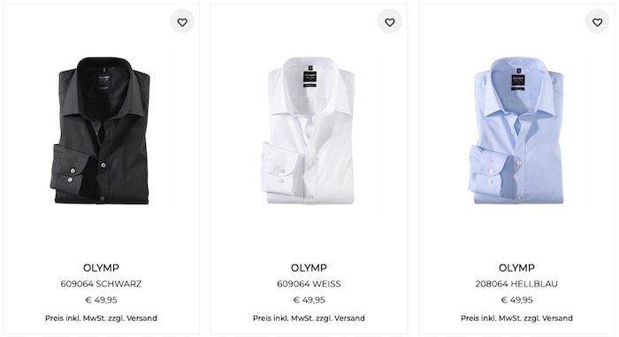 33% Rabatt ab zwei Olymp Hemden   z.B. 2 Hemden für 66,60€ (statt 100€)