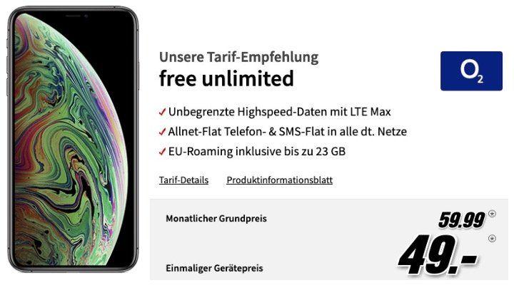 Apple iPhone XS Max mit 512GB für 49€   mit O2 Free Allnet Flat mit unlimited LTE Max für 59,99€ mtl.