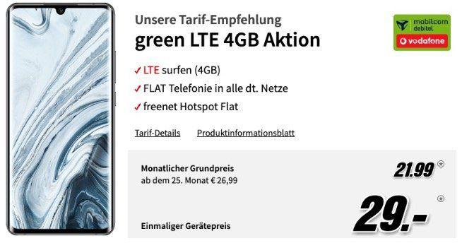 Mi Note 10 Pro 256GB für 29€ + Vodafone Flat mit 4GB LTE für 21,99€ mtl.