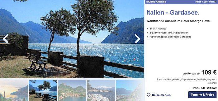3ÜN im 3* Hotel Albergo Deva (100%) am Gardasee mit Halbpension ab 109€ p.P.