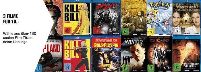 Endet heute: Kauf 3 Filme für 10€ zzgl. 1,99€ Versand   z.B. Kill Bill, Pulp Fiction