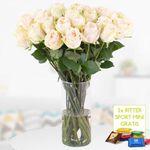 30 Premium-Rosen Cream mit XXL-Doppelblüte + 2 Mini-Schokis für 24,90€