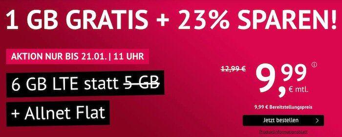 o2 Allnet Flat mit 6GB LTE für 9,99€mtl. + monatlich kündbar