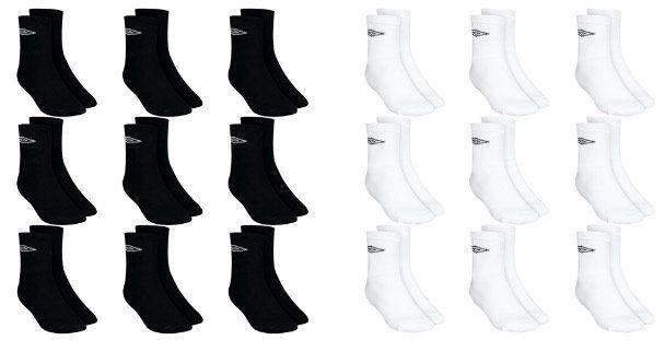 Umbro Crew Sport Socken 9er Pack in Schwarz oder Weiss für 8,88€ (statt 15€)
