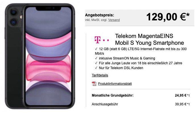 Young: Apple iPhone 11 für 129€ + Telekom MagentaEINS Mobil S mit 12GB LTE inkl. StreamOn für 29,95€ mtl.