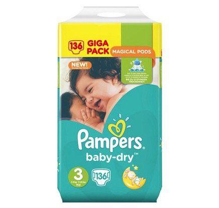 136er Pack Pampers Baby Dry Größe 3 (5 9kg) für 21,90€ (statt 28€)