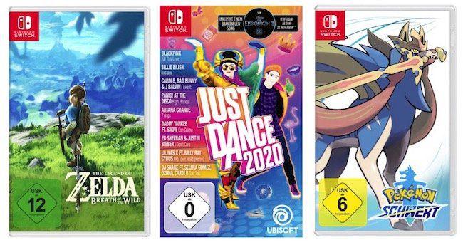 3 Nintendo Switch Spiele für 111€ – z.B. Legend of Zelda + Just Dance 2020 + Pokémon Schwert (statt 139€)