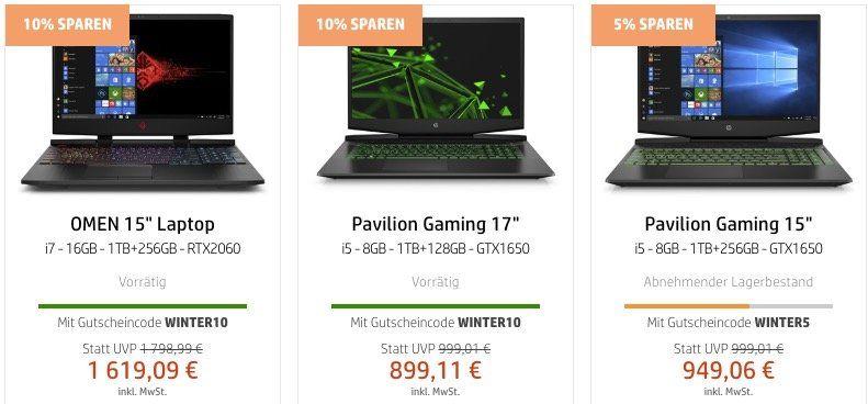 HP Winter Sale   z.B.  HP Envy 13 x360 für 764€ (statt 875€) oder HP Reverb VR Headset für 509€ (statt 584€)