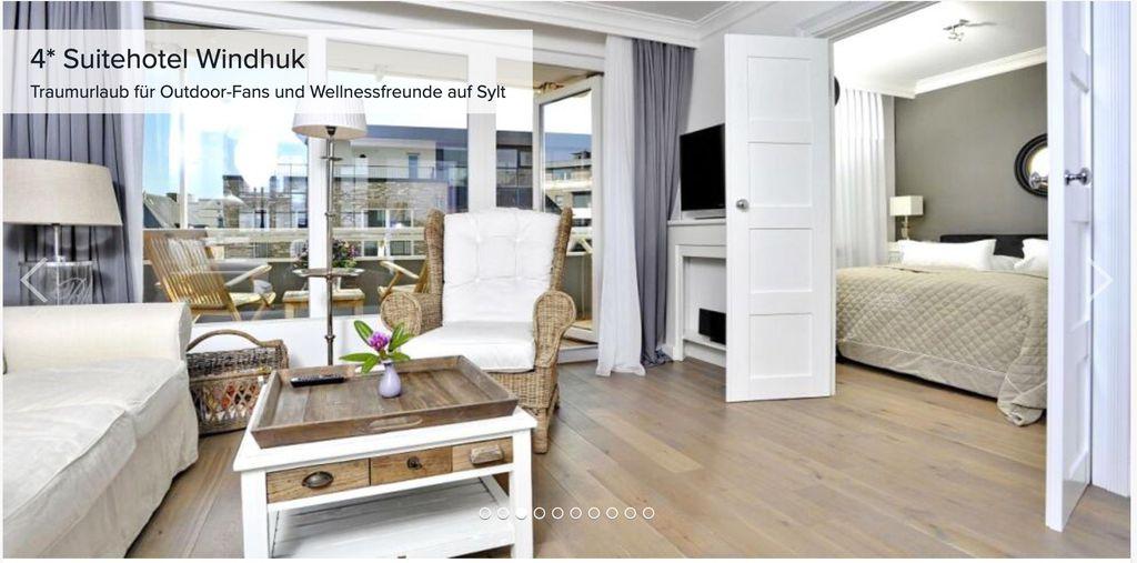 Sylt: 3 ÜN im 4* Suitehotel Windhuk (HC: 100% und 5,9) inkl. Verwöhnfrühstück + Sauna ab 399€p.P.