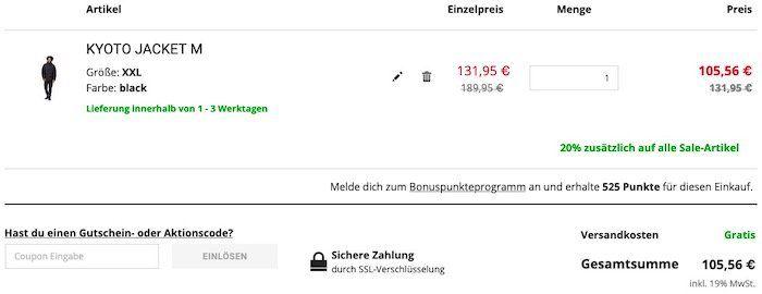 Jack Wolfskin KYOTO Winddichte Steppjacke für Männer in M bis 2XL für 105,56€ (statt 153€)