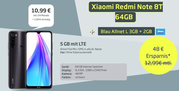Xiaomi Redmi Note 8T + Earbuds für 1€ + o2 Flat mit 5GB LTE für 10,99€ mtl.