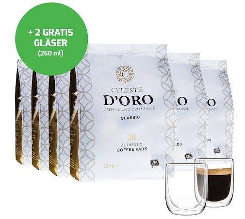 216er Pack Celeste dOro Senseo Pads inkl. 2 doppelwandige Gläser für 36,99€