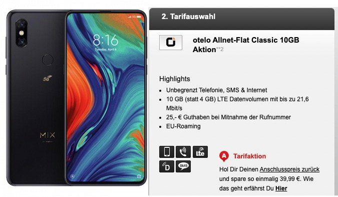 Xiaomi Mi Mix 3 5G für 69,95€ + Vodafone Flat mit 10GB LTE für 19,99€ mtl.
