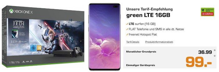 Knaller! Galaxy S10 Plus + Xbox One X Star Wars Bundle für 99€ + Vodafone Flat mit 16GB LTE für 36,99€ mtl.
