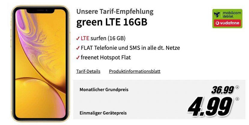 iPhone XR mit 256GB in Gelb oder Koralle für 4,99€ + Vodafone Flat mit 16GB LTE für 36,99€ mtl.