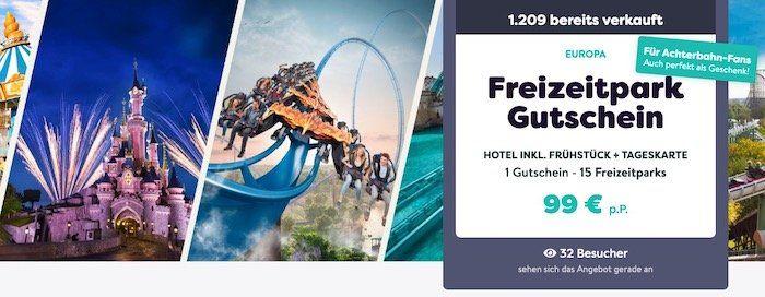 Freizeitpark Gutschein für Eintritt und Hotel mit Frühstück für 99€ p.P.
