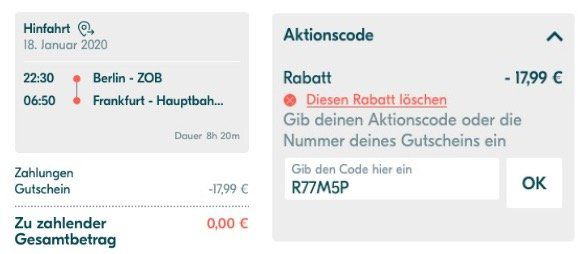 🔥 BlaBlaBus Gutschein über 19,99€ ohne Mindestbestellwert   z.B. Berlin  > Frankfurt für 0€ (Abgelaufen)