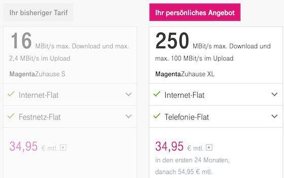 Bis morgen: MagentaZuhause Bestandskunden kostenlos auf XL (250 Mbit/s) zu gleichen Konditionen upgraden