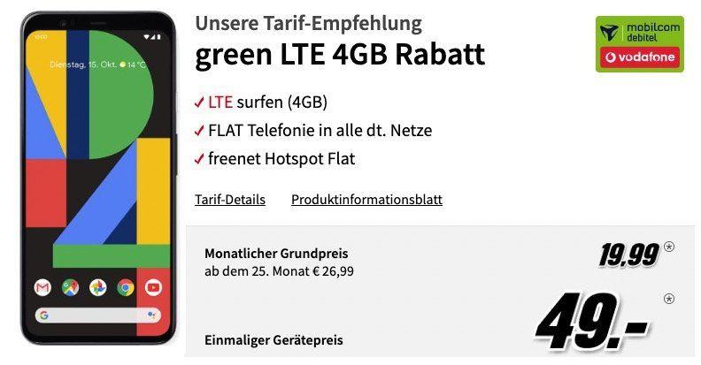 🔥 Google Pixel 4 für 49€ + Vodafone Flat mit 4GB LTE für 19,99€ mtl.