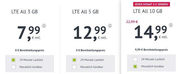 Allnet Flat im O2 Netz mit 10GB LTE 50 Mbit/Sek. für 14,99€   auch monatlich kündbar