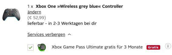 Ausverkauft! Xbox One Wireless Controller in Grey Blue + 3 Monate Game Pass Ultimate für 58,94€ (statt 75€)   Neukunden nur 37,99€