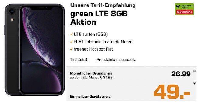 Abgelaufen! Apple iPhone XR mit 128GB für 49€ + Vodafone Flat mit 8GB LTE für 26,99€ mtl.