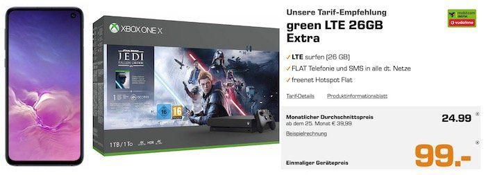 Top: Galaxy S10e + Xbox One X Star Wars für 99€ + Vodafone Flat mit 26GB LTE (!) für rechn. 24,99€ mtl.