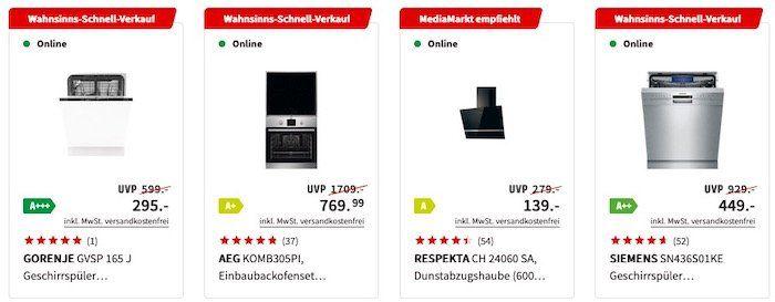 MediaMarkt: 50% Rabatt auf über 100 Einbaugeräte   z.B. Gorenje Geschirrspüler für 295€ (statt 340€)