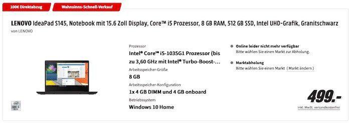 MediaMarkt: 100€ Warenkorb Rabatt auf über 330 Notebooks   z.B. Lenovo Ideapad S145 für 399€ (statt 514€)