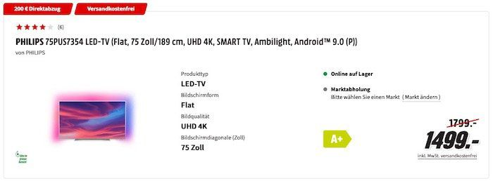 MediaMarkt: Bis 300€ Direkt Rabatt auf Fernseher   z.B. Philips 75 UltraHD mit Ambilight für 1.299€ (statt 1.499€)
