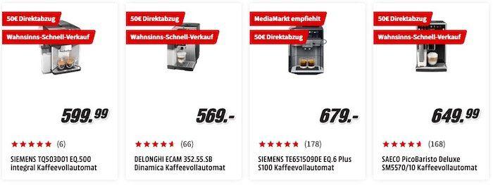 MediaMarkt: Direktrabatte auf über 90 Kaffeevollautomaten   z.B. Philips LatteGo ab 349€ (statt 418€)