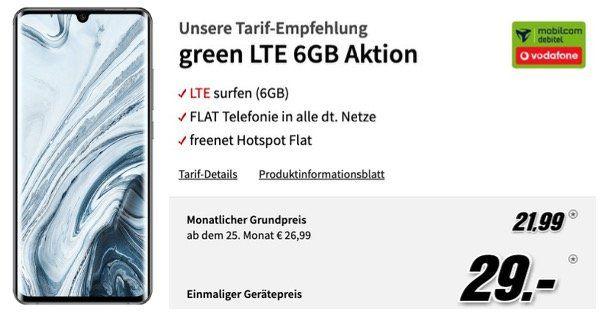 Mi Note 10 Pro 256GB für 29€ + Vodafone Flat mit 6GB LTE für 21,99€ mtl.