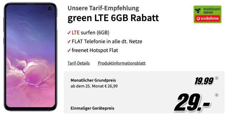 Samsung Galaxy S10e für 29€ + Vodafone Flat mit 6GB LTE für 19,99€ mtl.