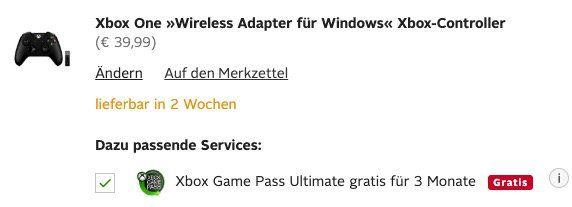 Mal weg, mal da! Xbox One Wireless Controller mit Windows Adapter + 3 Monate Game Pass Ultimate für 45,94€ (statt 70€) – Neukunden nur 24,99€