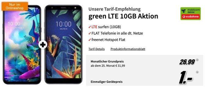 LG G8X ThinQ + LG K40 für 1€ mit Allnet Flat im Vodafone Netz mit 10GB LTE50 für 26,99€ mtl.
