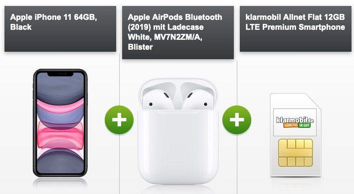 Apple iPhone 11 128GB + Airpods 2. Gen für 75€ mit Vodafone Allnet Flat mit 12GB LTE50 für 44,99€ mtl.