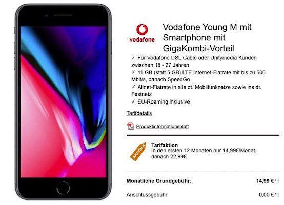 Young + Gigakombi: iPhone 8 für 29€ + Vodafone Flat mit 11GB LTE für 18,99€ mtl.